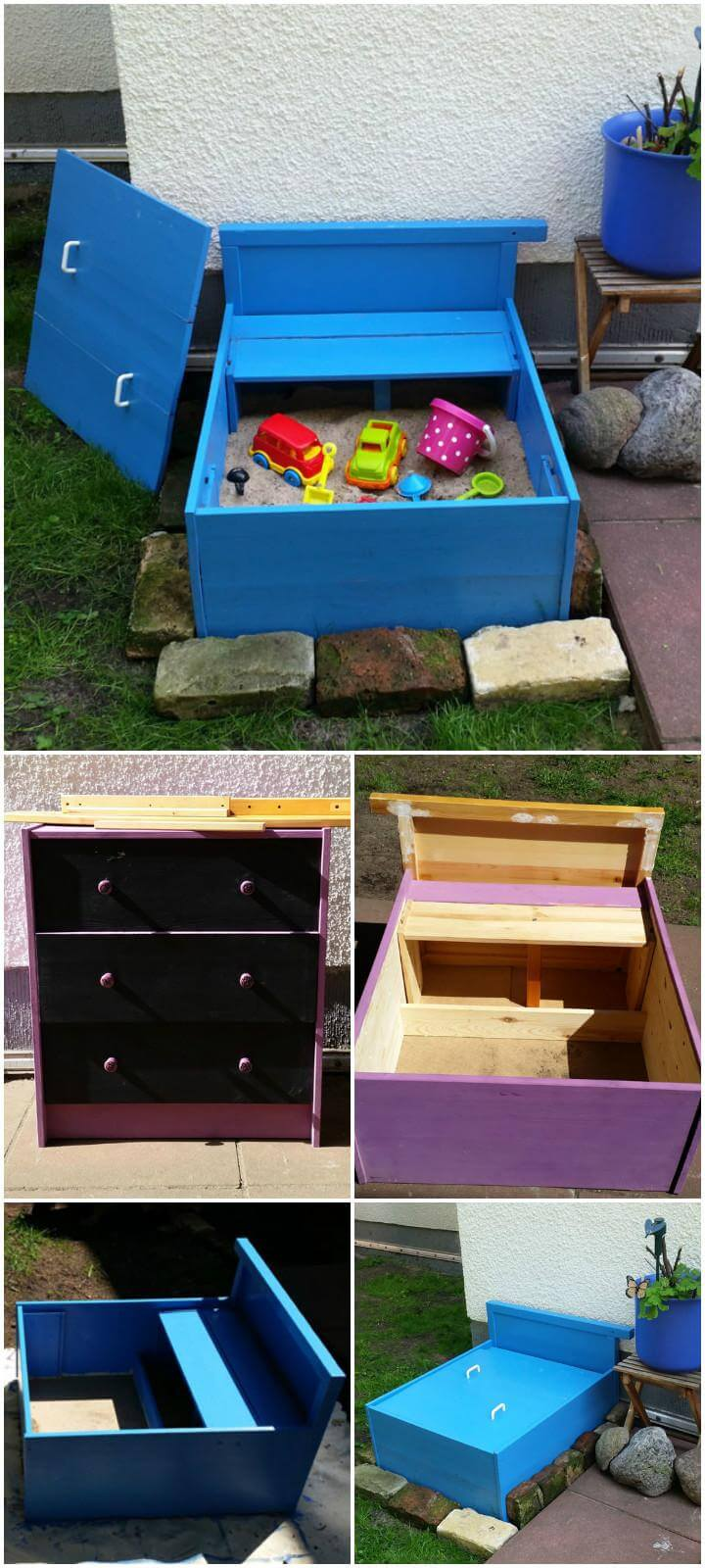 DIY Mini Sandbox Made of an Old Dresser