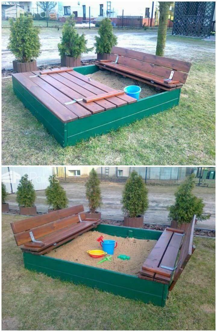 DIY Pallet Sandpit with Built-in Seats
