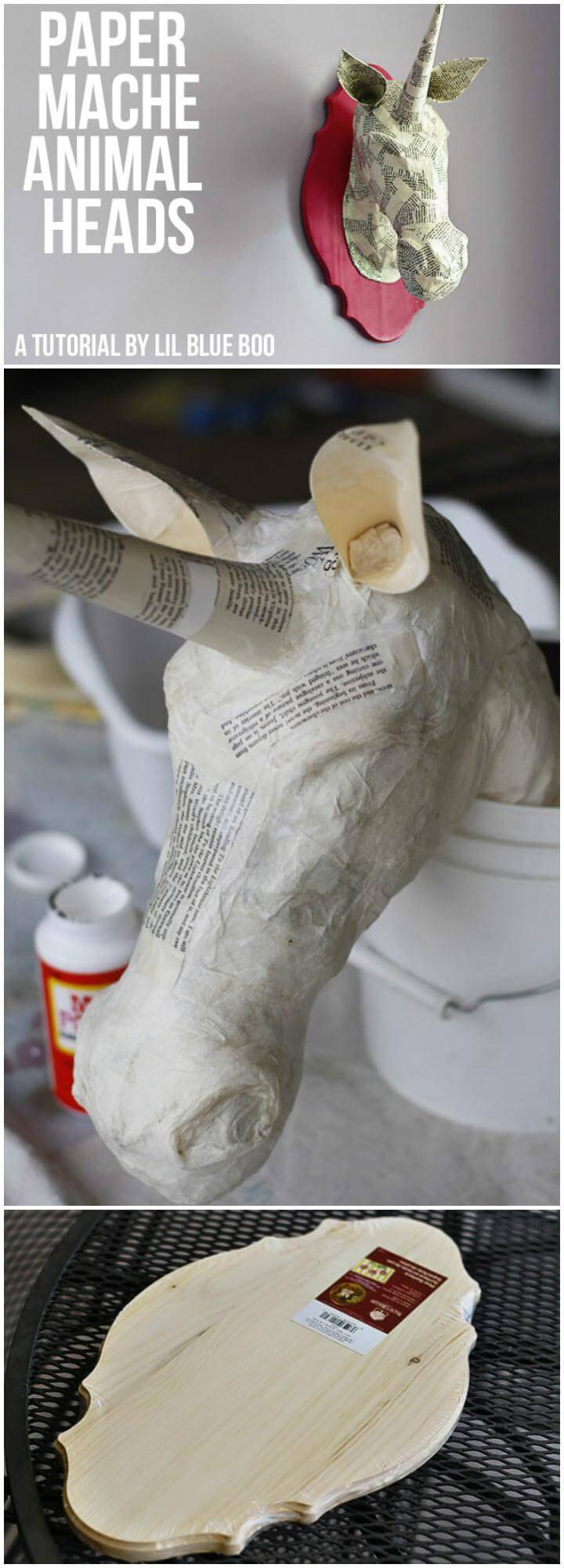 DIY Paper Mache Animal Head Wall Art
