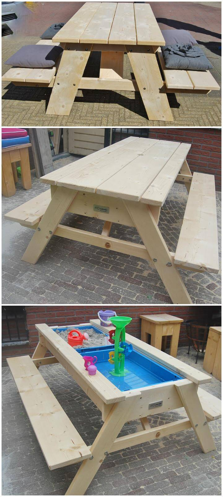 DIY Picnic Table into Sand and Water Fun Table