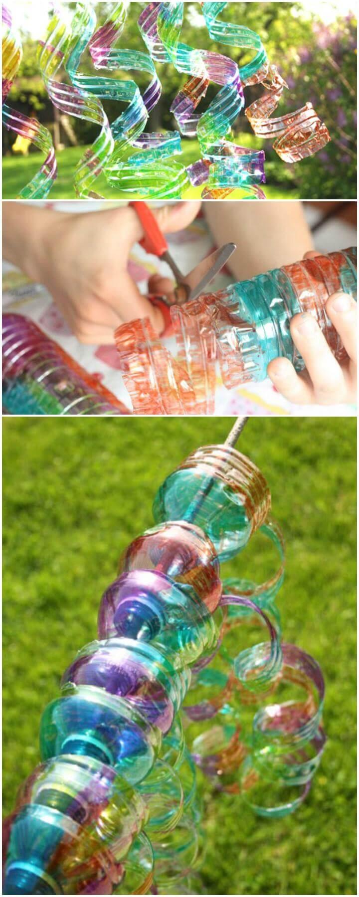 DIY Plastic Water Bottle Wind Spirals
