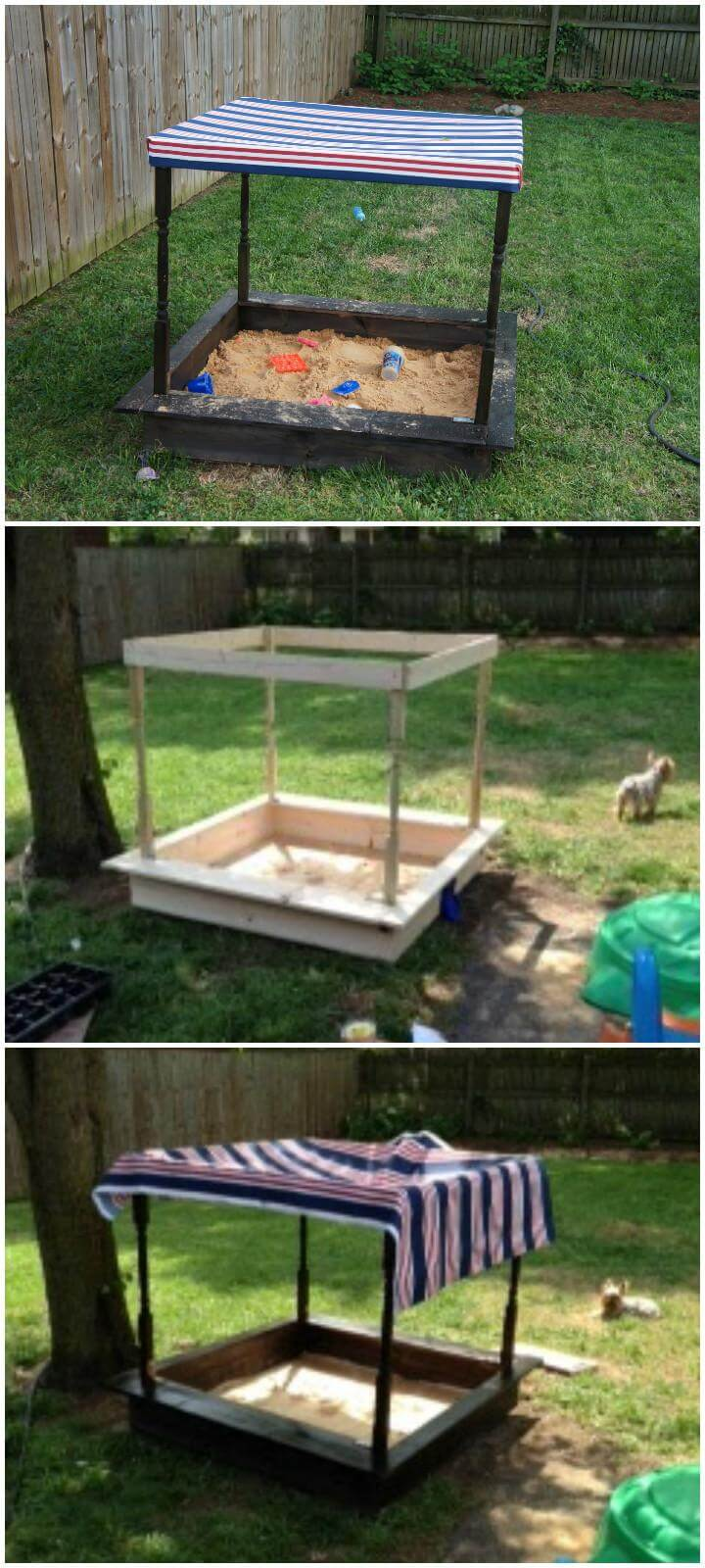 DIY Pottery Barn Sandbox with Roof