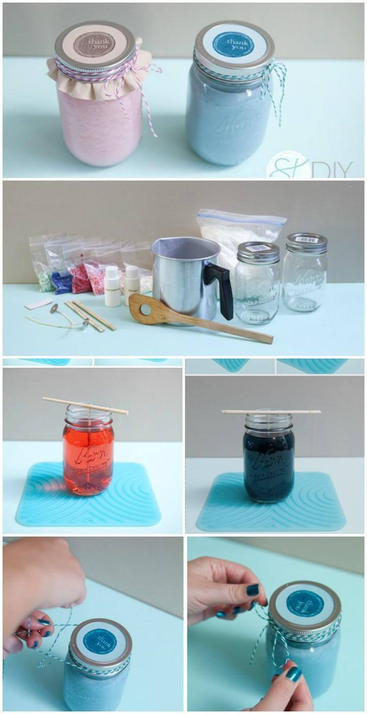 DIY Poured Mason Jar Candle Gifts