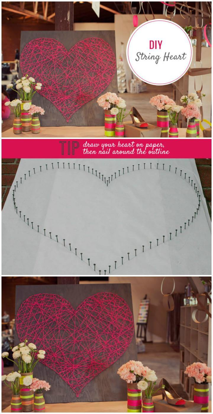 DIY Precious String Heart Sign