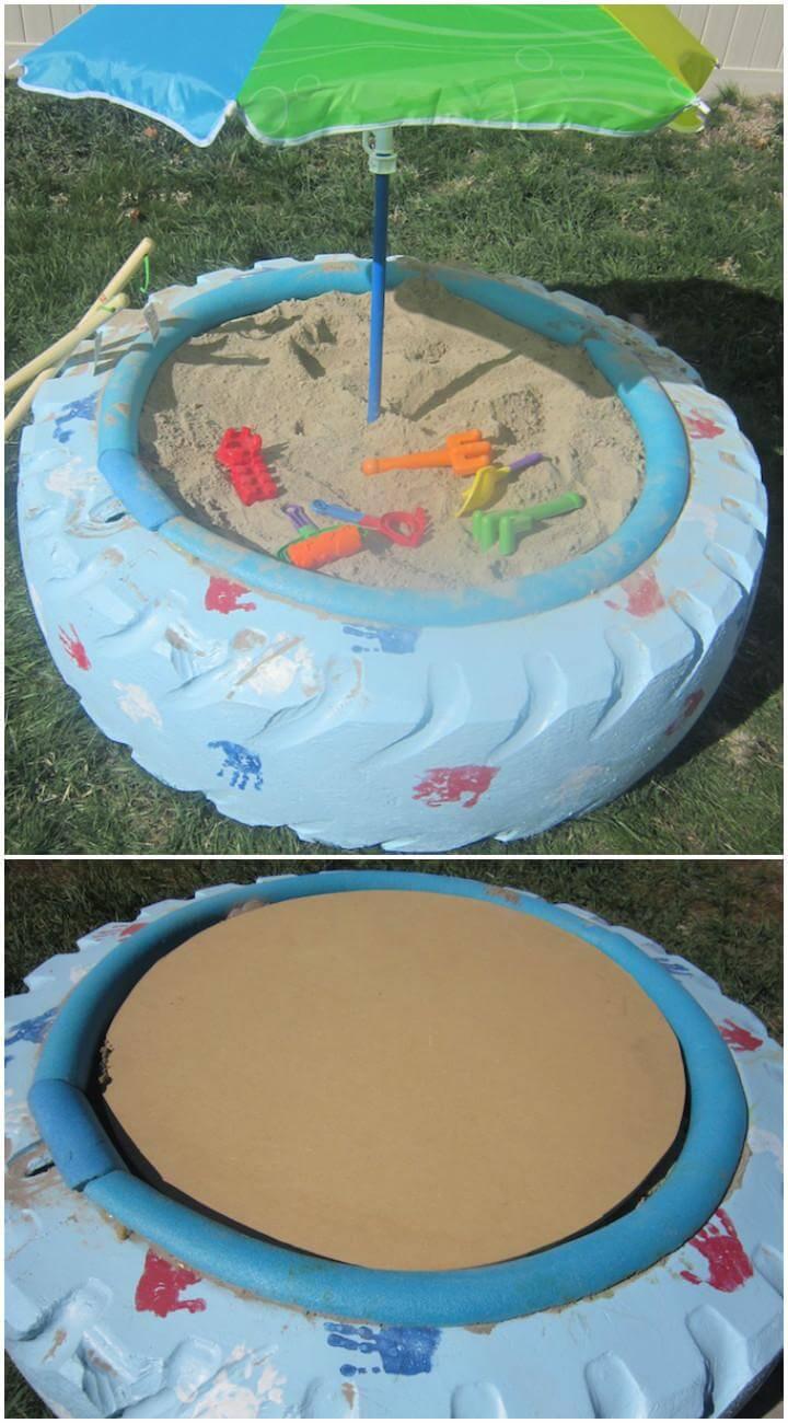 DIY Repurposed Big Tire Sandbox