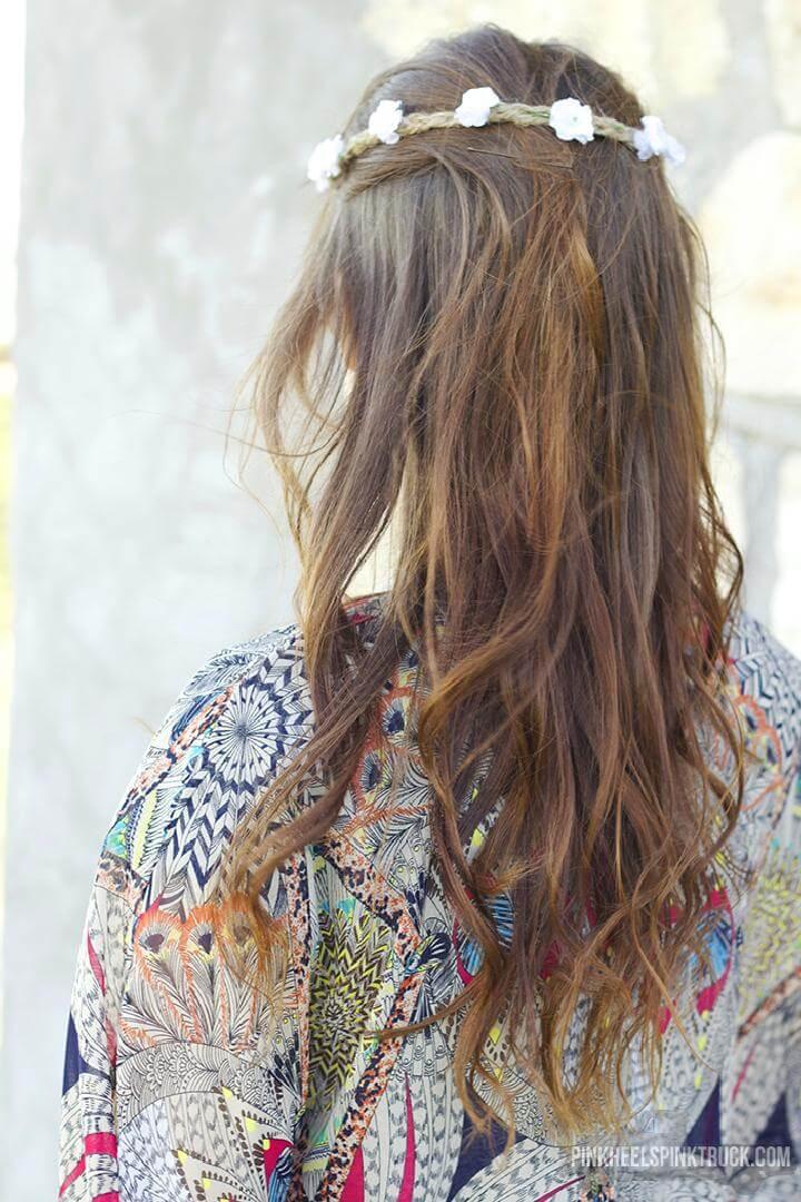 DIY Rustic Rope and Flower Boho Crown