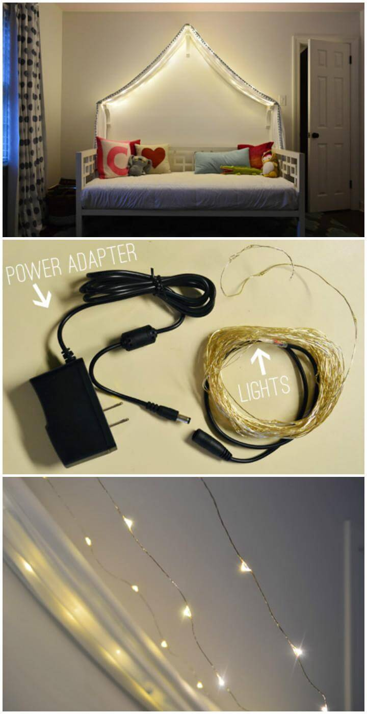DIY Self-Installed Canopy Bed Fairy Lights