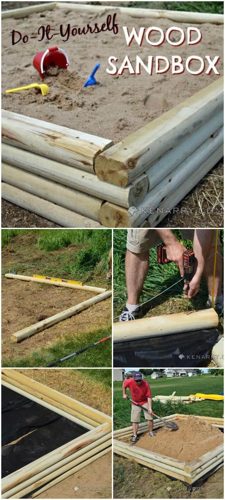 DIY Self-Made Wooden Kids Sandbox