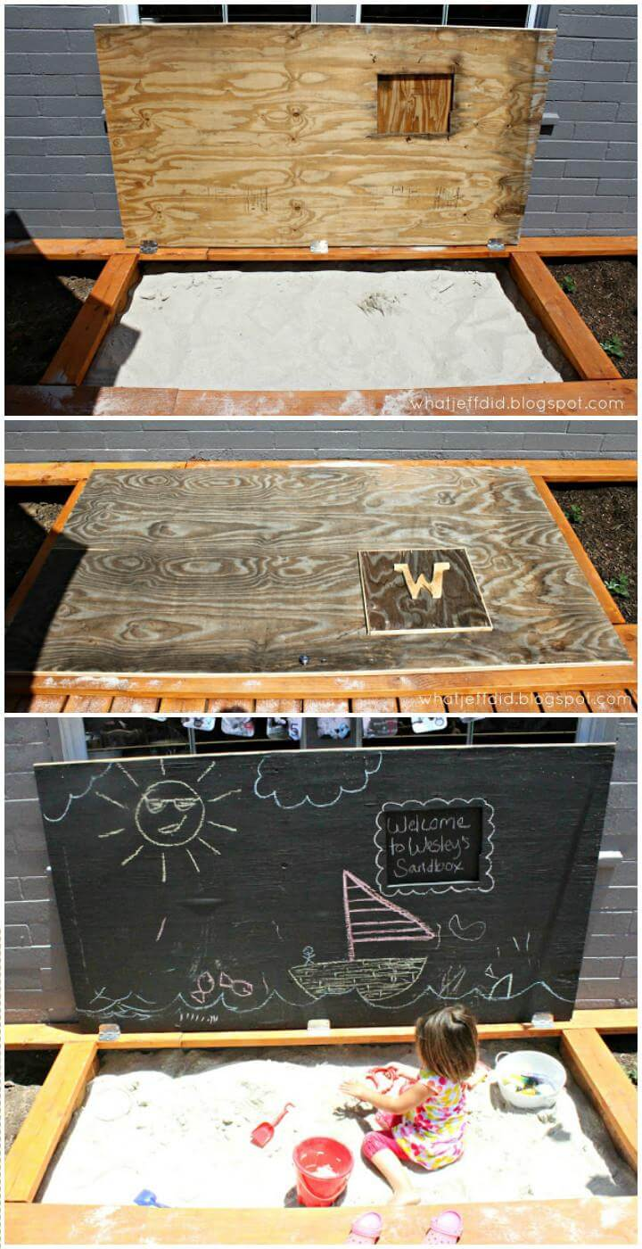 DIY Self-Made Wooden Sandbox with Chalkboard Hinged Lid