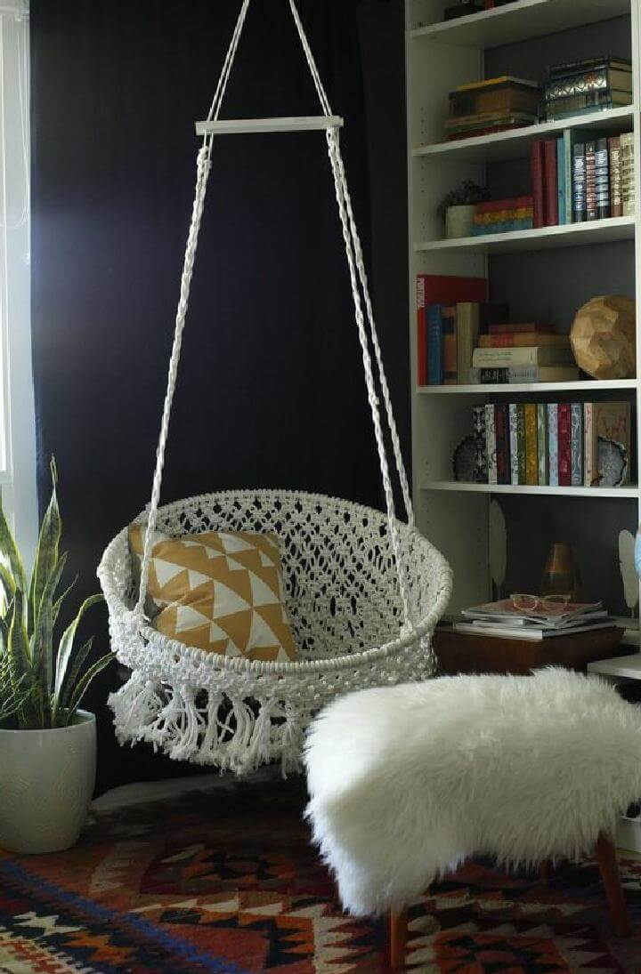 DIY Self-Made and Installed Hanging Macrame Chair