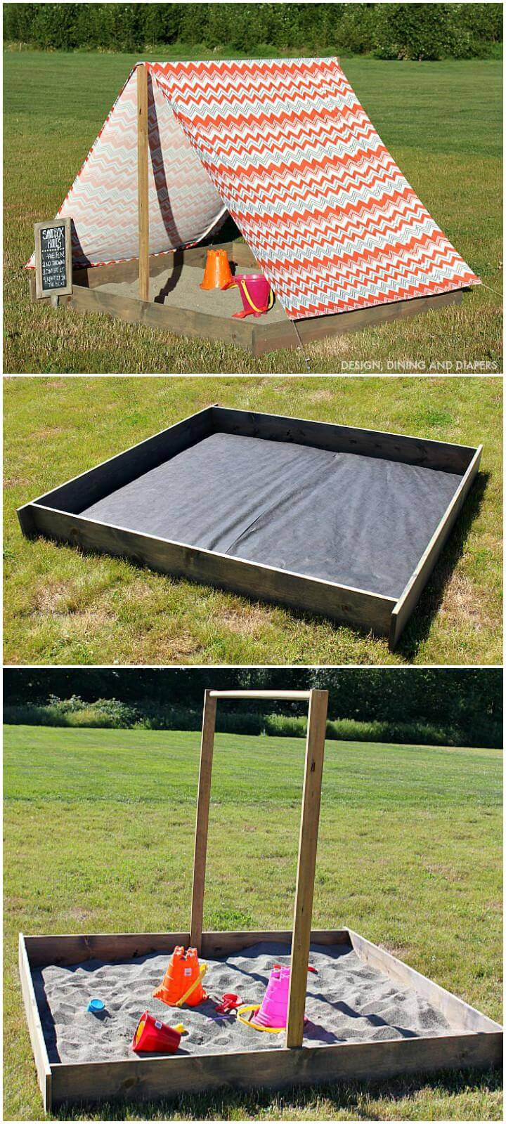 DIY Self-Made and Installed Sandbox with Cover