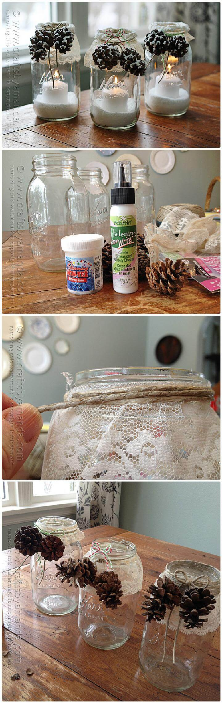 DIY Snowy Pinecone Candle Jar - Mason Jar Winter Luminaries