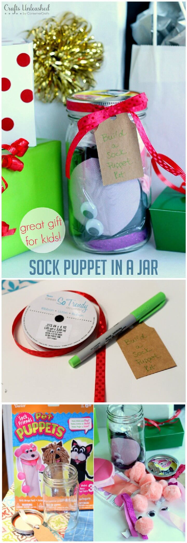 DIY Sock Puppet in Mason jar Kids Gift