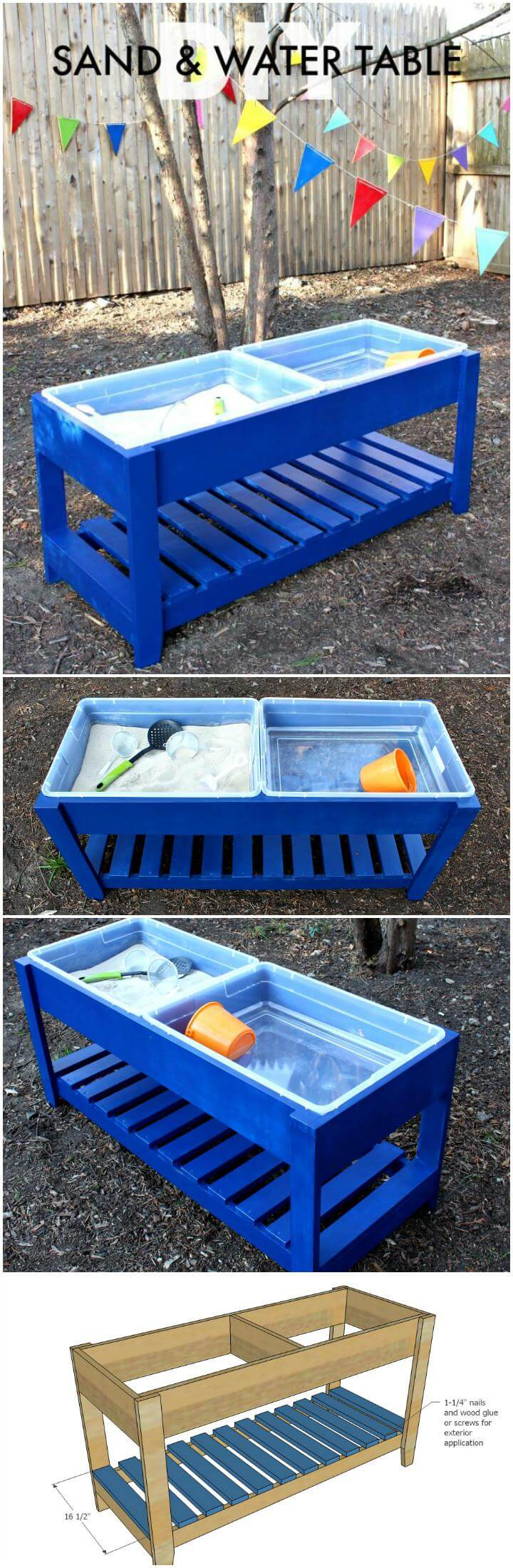 DIY Solid Wooden Sand and Water Table