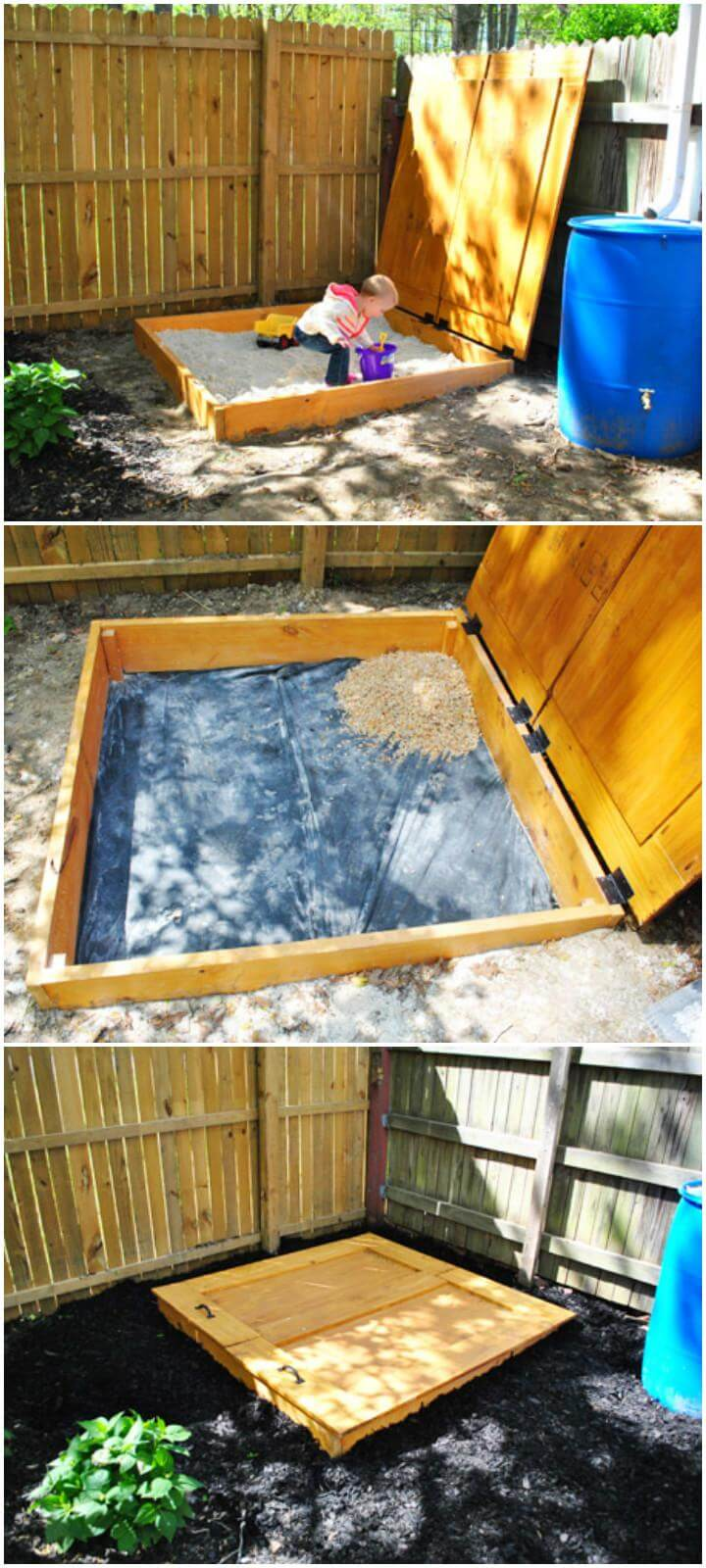 DIY Solid Wooden Sandbox with Hinged Lid