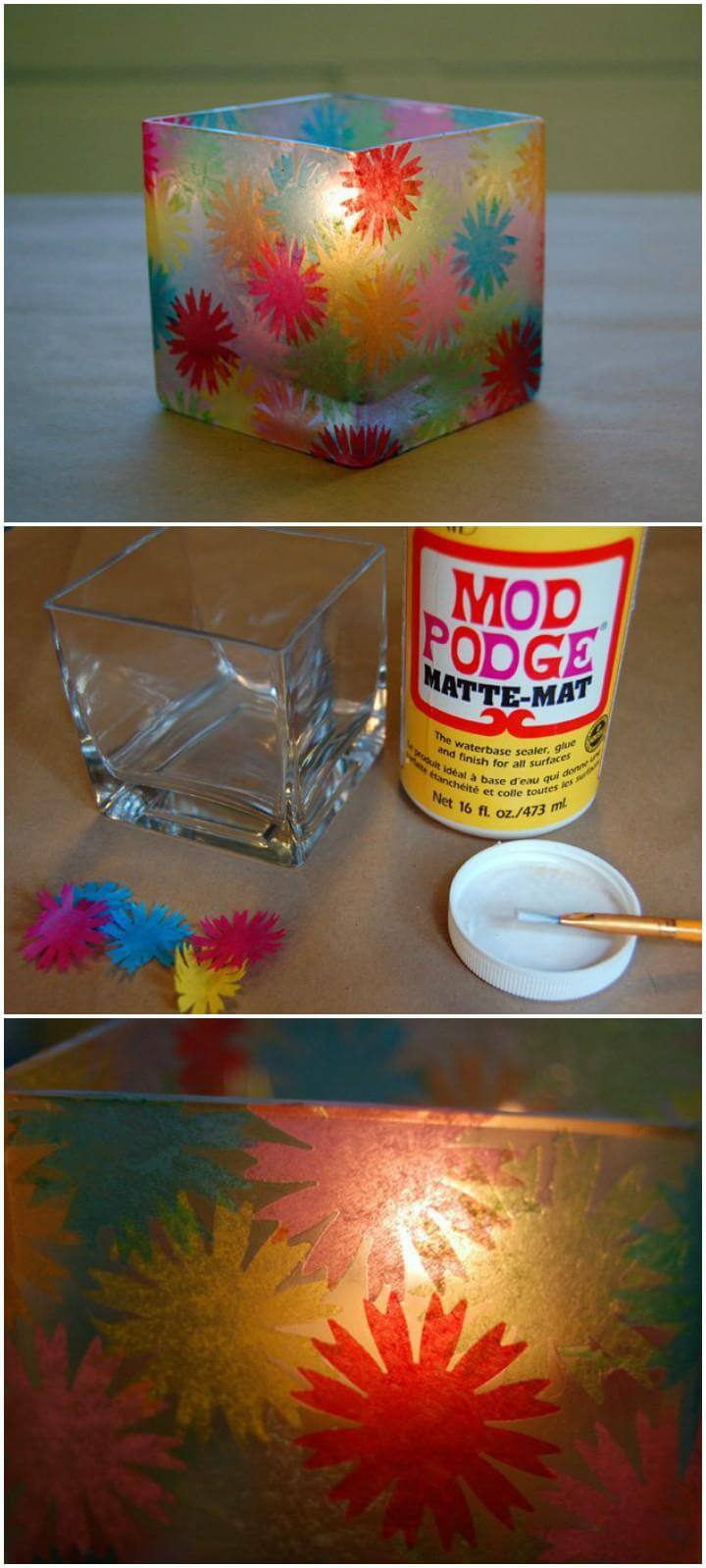 DIY Stained Glass Votive