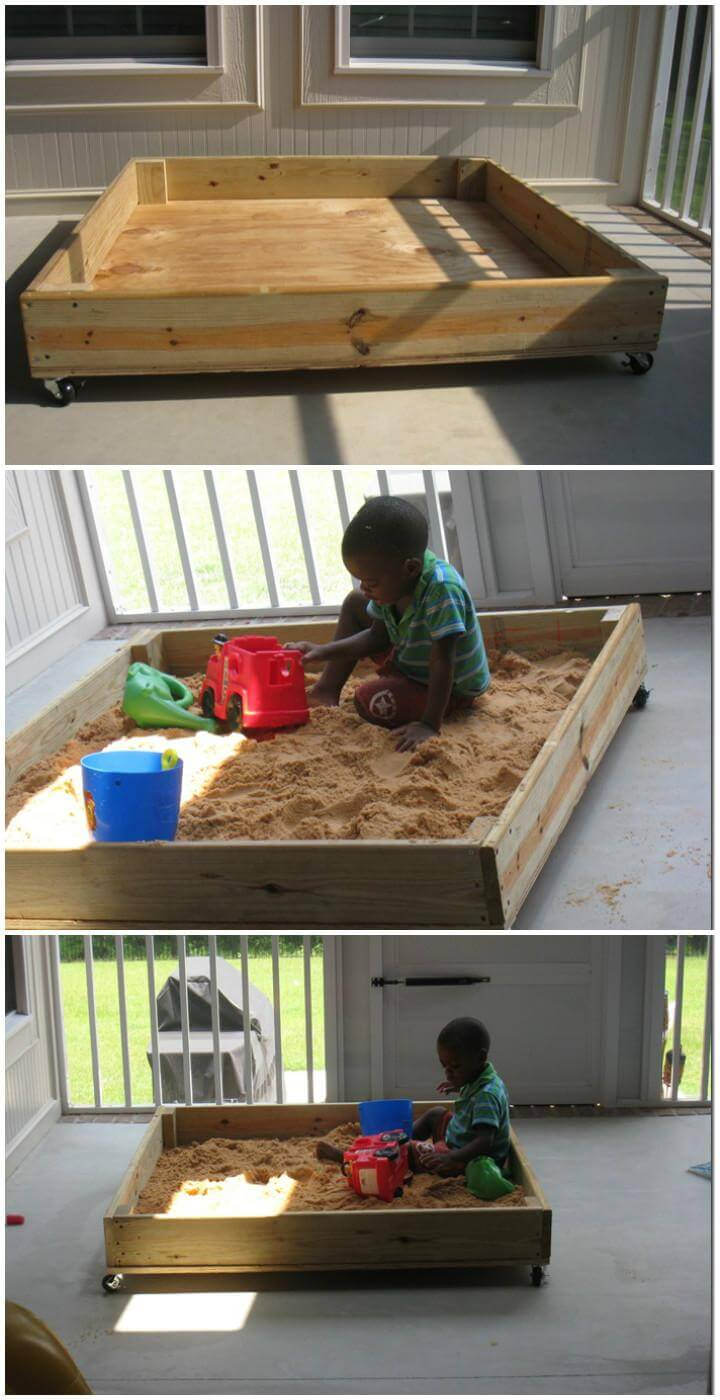 DIY Super Easy Wooden Sandbox on Wheels