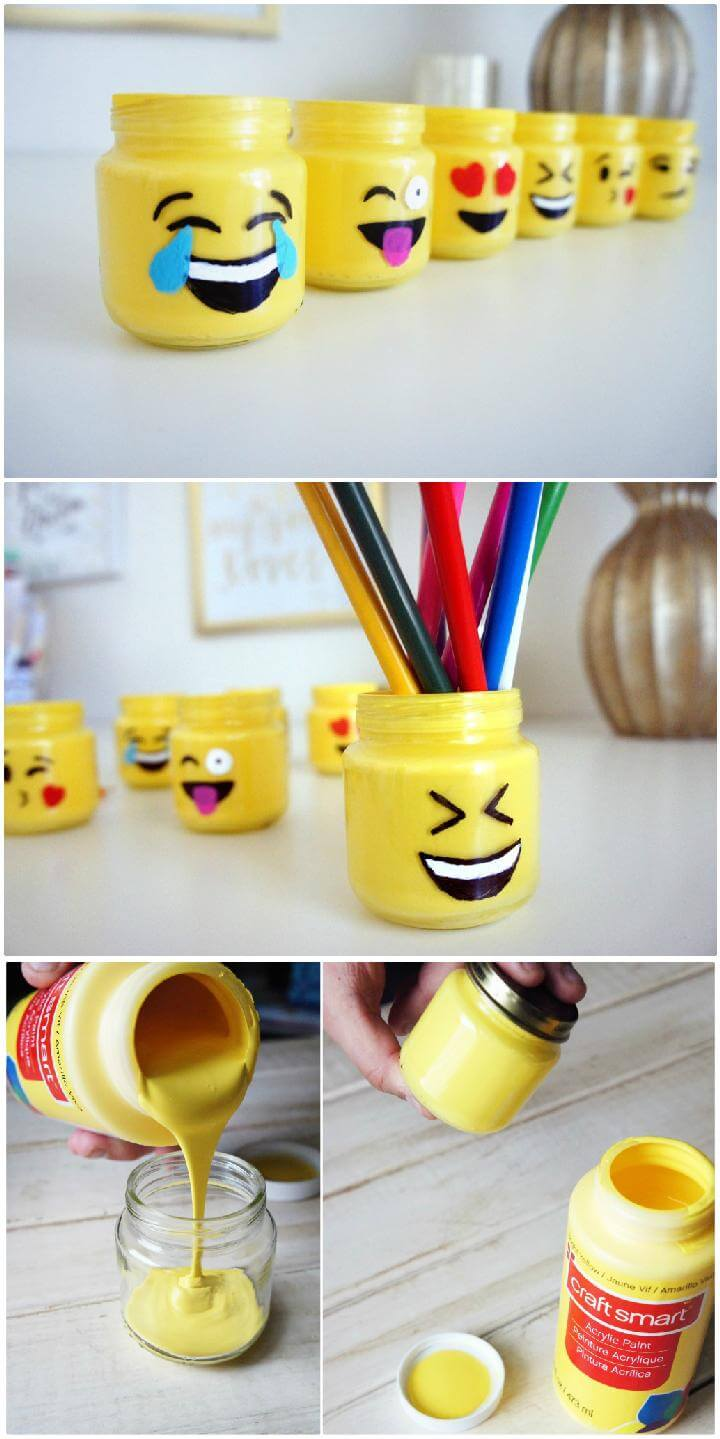 DIY Superb Beautiful Emoji Mason Jars