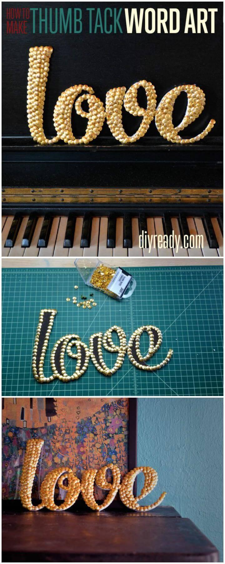 DIY Thumb Tack LOVE Word Art