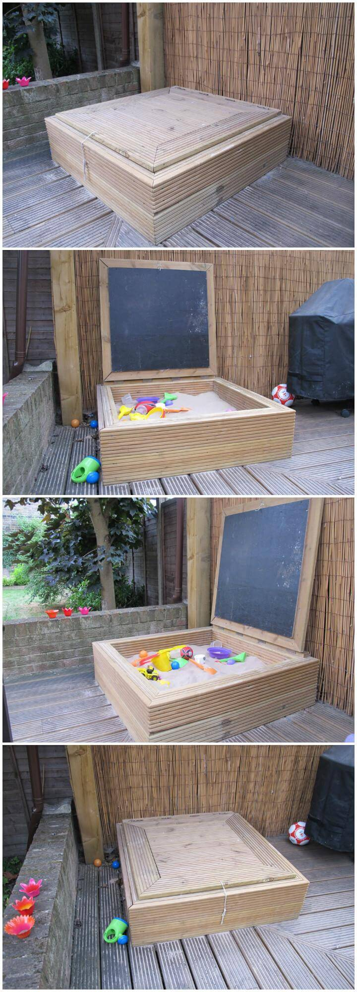 DIY Wooden Sandbox with Integrated Chalkboard in the Lid