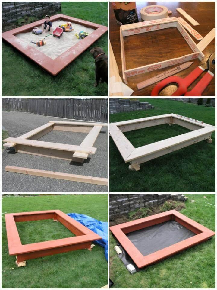 DIY Wooden Sandbox with Seats - Free Plans