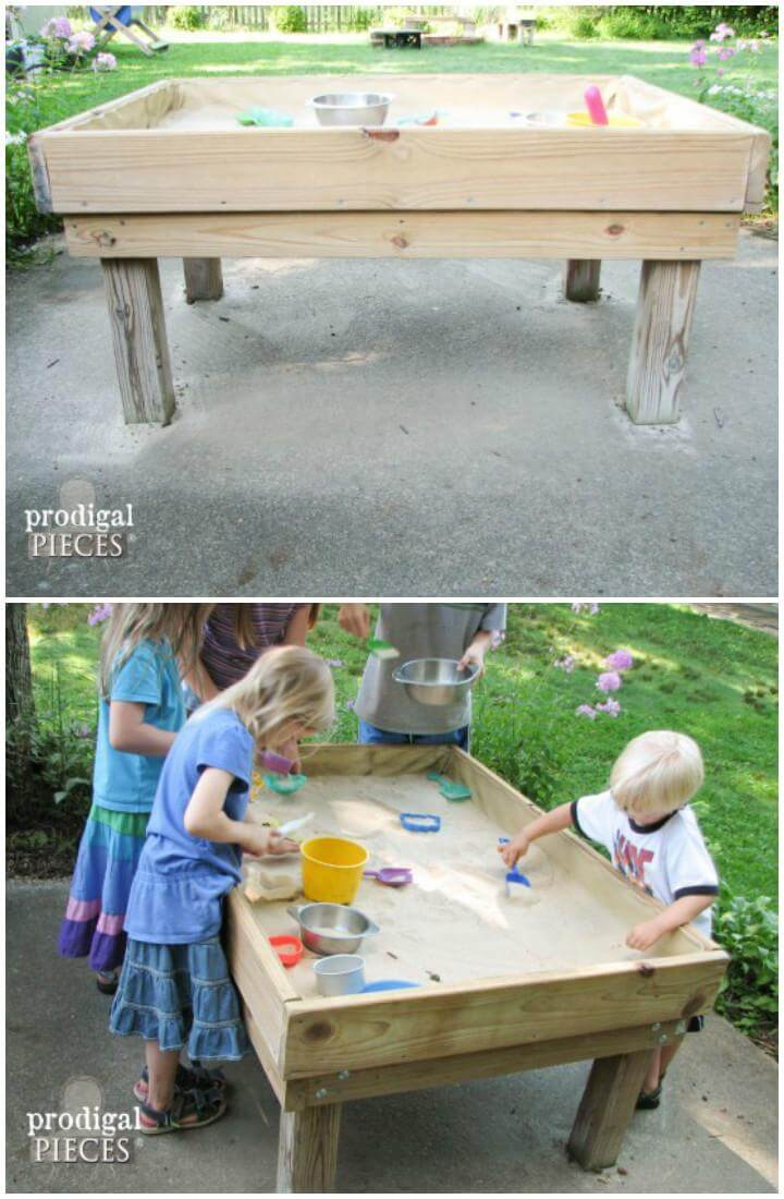 DIY Wooden Standing Sandbox or Sand Table