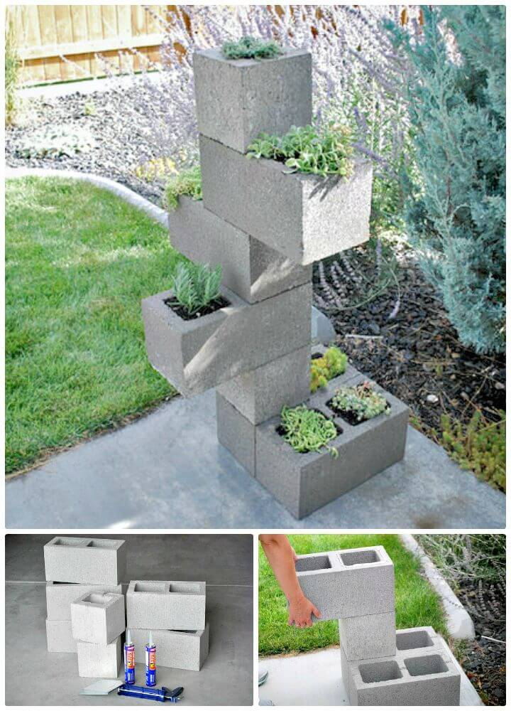 Diy Cinder Block Vertical Planter Free Tutorial Jpg 720 400 x 300