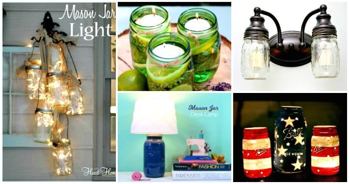 DIY Mason Jar Lights – 74 Best Ideas to Light up Your Home - DIY Home Decor Ideas - DIY Mason Candle Holders - DIY Mason Jar Ideas - DIY Crafts - DIY Projects - DIY Ideas
